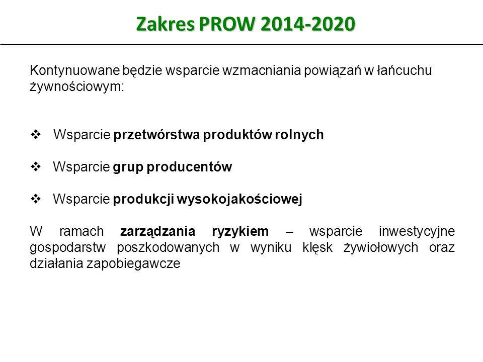 Zakres PROW 2014-2020 Kontynuowane będzie wsparcie wzmacniania powiązań w łańcuchu żywnościowym:  Wsparcie przetwórstwa produktów rolnych  Wsparcie grup producentów  Wsparcie produkcji wysokojakościowej W ramach zarządzania ryzykiem – wsparcie inwestycyjne gospodarstw poszkodowanych w wyniku klęsk żywiołowych oraz działania zapobiegawcze