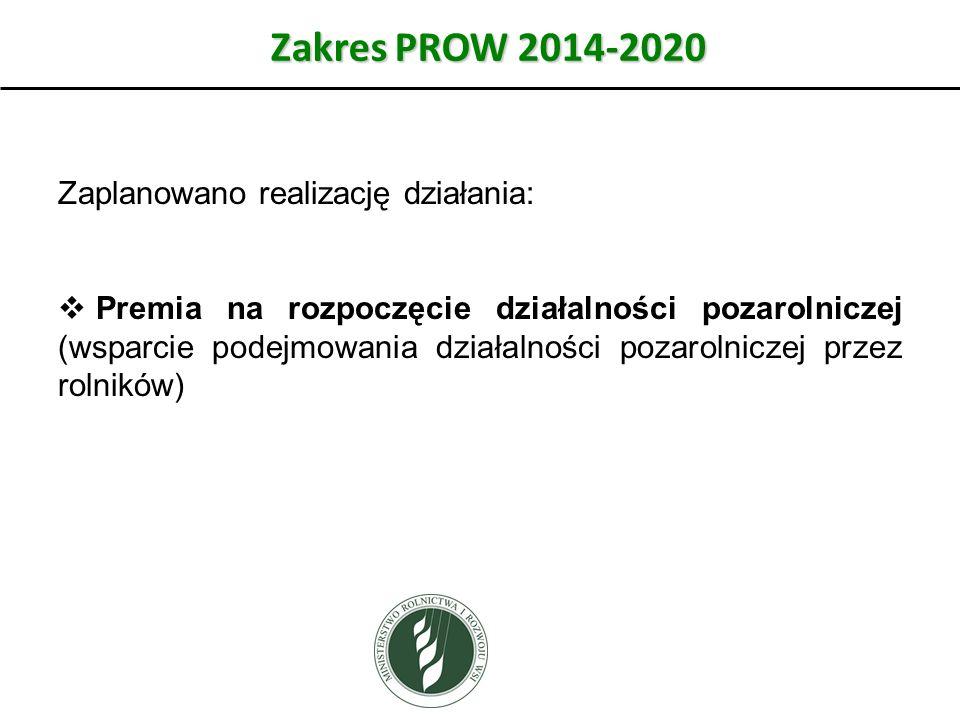 Zakres PROW 2014-2020 Zaplanowano realizację działania:  Premia na rozpoczęcie działalności pozarolniczej (wsparcie podejmowania działalności pozarolniczej przez rolników)