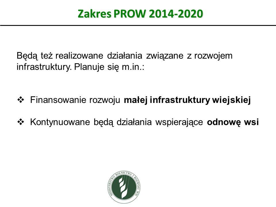Zakres PROW 2014-2020 Będą też realizowane działania związane z rozwojem infrastruktury.