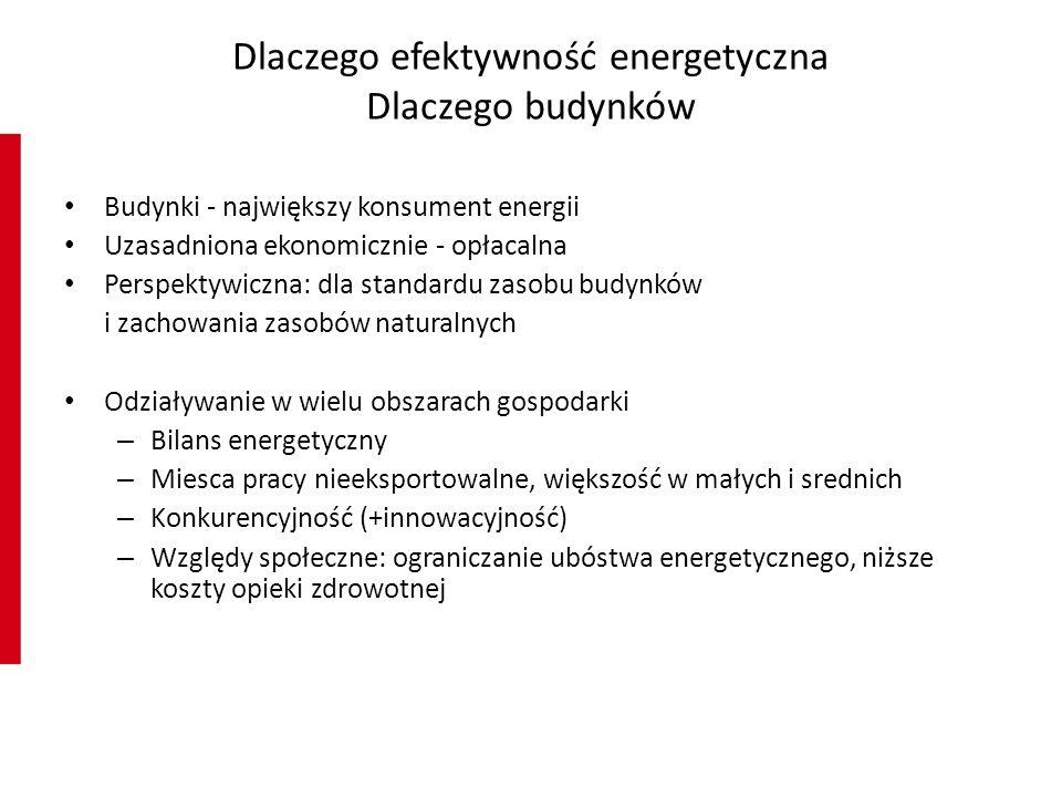 Dlaczego efektywność energetyczna Dlaczego budynków Budynki - największy konsument energii Uzasadniona ekonomicznie - opłacalna Perspektywiczna: dla standardu zasobu budynków i zachowania zasobów naturalnych Odziaływanie w wielu obszarach gospodarki – Bilans energetyczny – Miesca pracy nieeksportowalne, większość w małych i srednich – Konkurencyjność (+innowacyjność) – Względy społeczne: ograniczanie ubóstwa energetycznego, niższe koszty opieki zdrowotnej