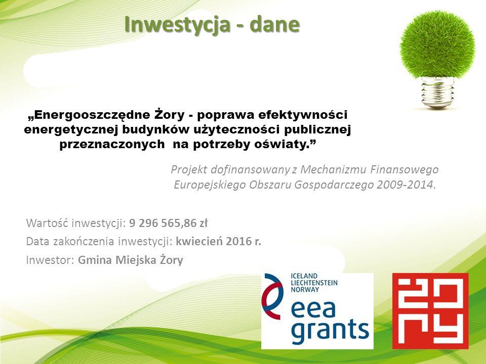 """""""Energooszczędne Żory - poprawa efektywności energetycznej budynków użyteczności publicznej przeznaczonych na potrzeby oświaty. Projekt dofinansowany z Mechanizmu Finansowego Europejskiego Obszaru Gospodarczego 2009-2014."""