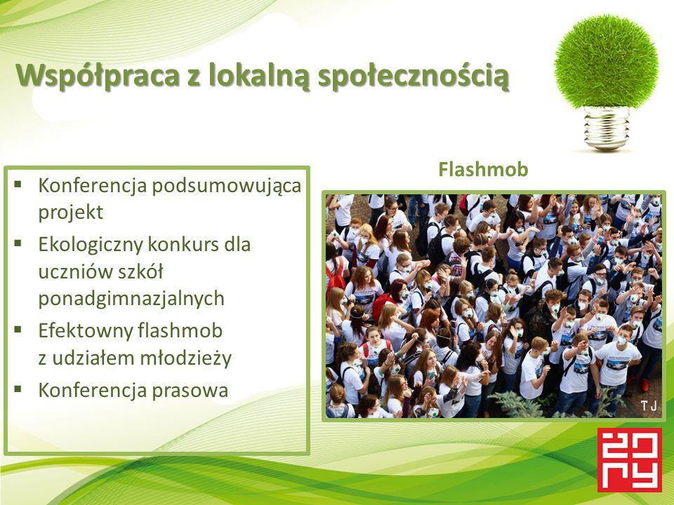 Współpraca z lokalną społecznością  Konferencja podsumowująca projekt  Ekologiczny konkurs dla uczniów szkół ponadgimnazjalnych  Efektowny flashmob z udziałem młodzieży  Konferencja prasowa Flashmob