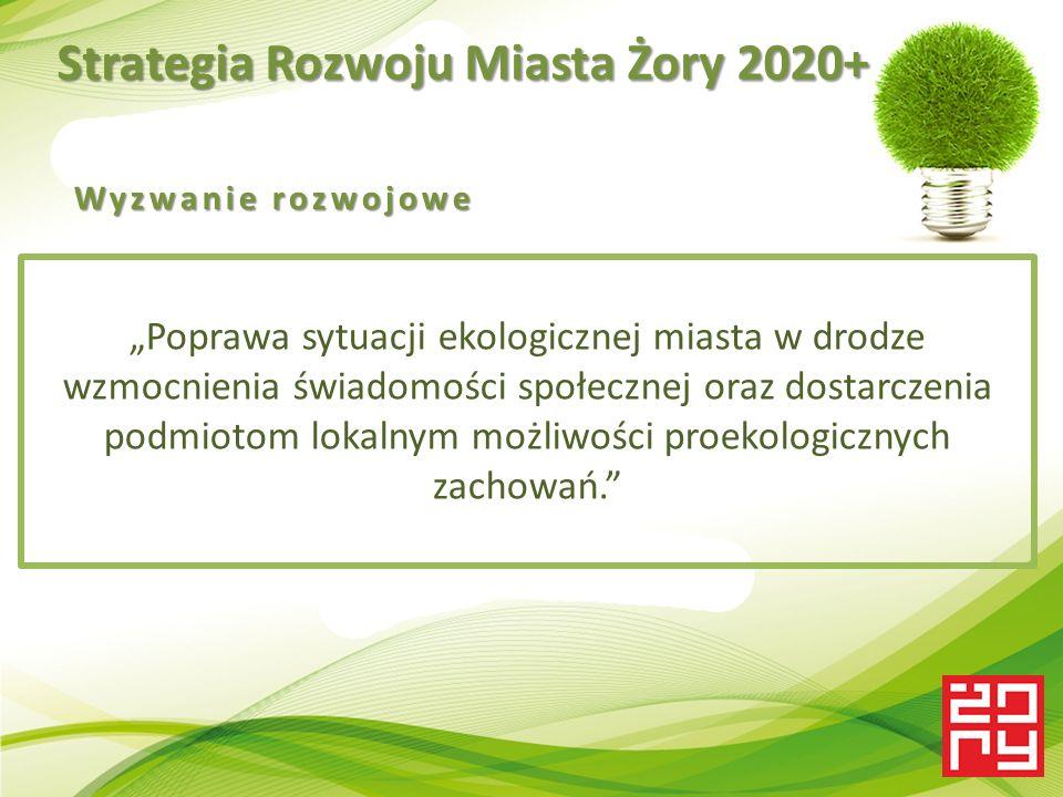 """Strategia Rozwoju Miasta Żory 2020+ """"Poprawa sytuacji ekologicznej miasta w drodze wzmocnienia świadomości społecznej oraz dostarczenia podmiotom lokalnym możliwości proekologicznych zachowań. Wyzwanie rozwojowe"""