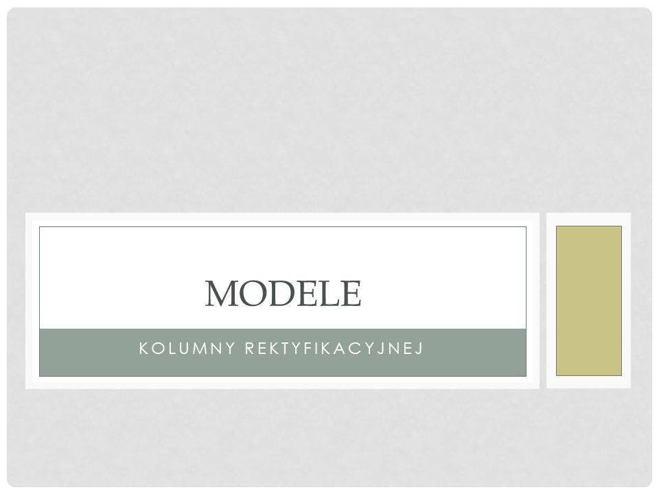 PROSTA KOLUMNA: SHOR Tylko 3 strumienie: 1 wlotowy i 2 wylotowe Metody obliczeń: Sprawdzające (rating): Fenske-Underwood-Gilliland (FUG) Projektowe (design): FUG + lokalizacja zasilania metodą Fenskego FUG + lokalizacja zasilania metodą Kirkbride'a