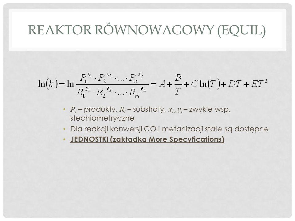 REAKTOR RÓWNOWAGOWY (EQUIL) P i – produkty, R i – substraty, x i, y i – zwykle wsp.