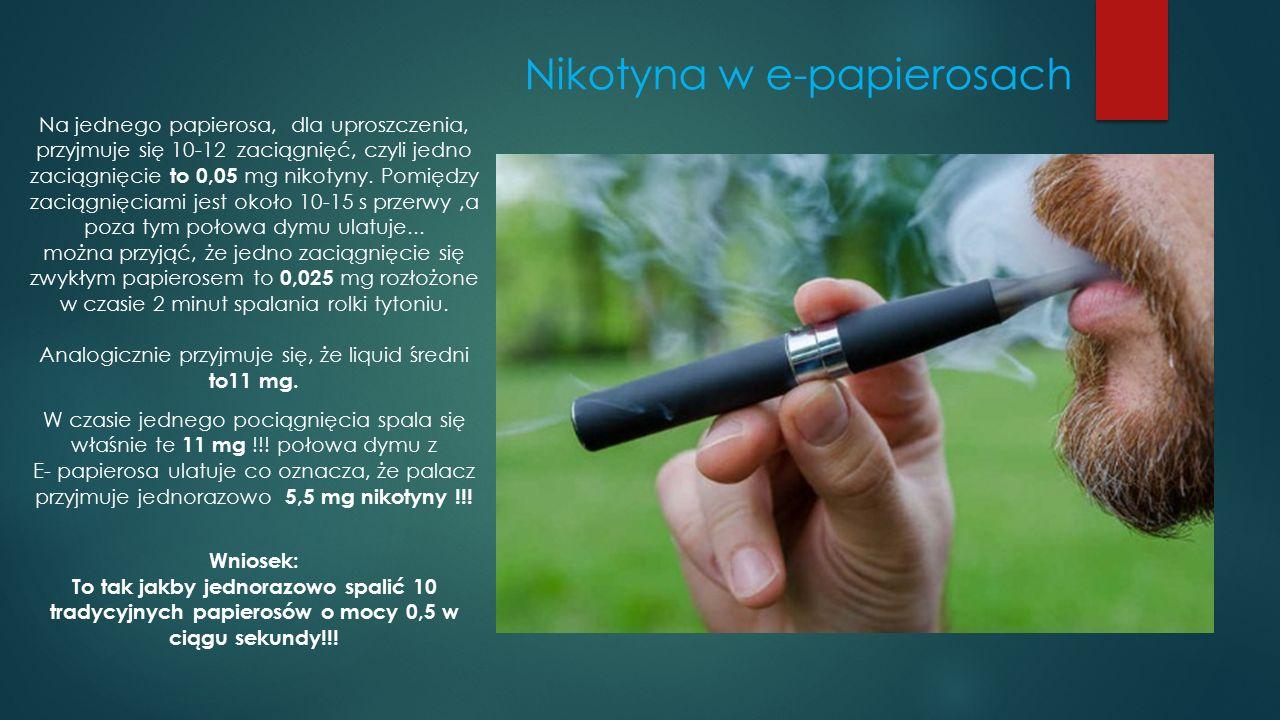 Nikotyna w e-papierosach Na jednego papierosa, dla uproszczenia, przyjmuje się 10-12 zaciągnięć, czyli jedno zaciągnięcie to 0,05 mg nikotyny. Pomiędz
