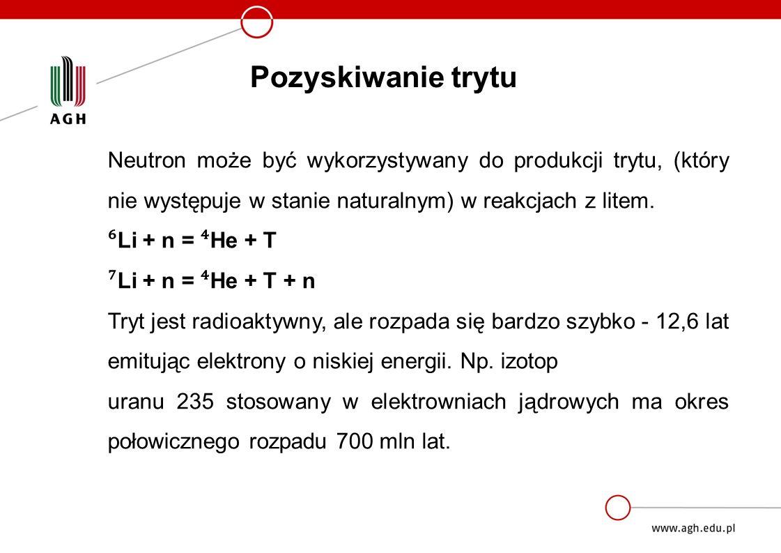 Pozyskiwanie trytu Neutron może być wykorzystywany do produkcji trytu, (który nie występuje w stanie naturalnym) w reakcjach z litem.