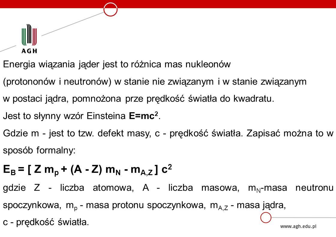 Energia wiązania jąder jest to różnica mas nukleonów (protononów i neutronów) w stanie nie związanym i w stanie związanym w postaci jądra, pomnożona prze prędkość światła do kwadratu.