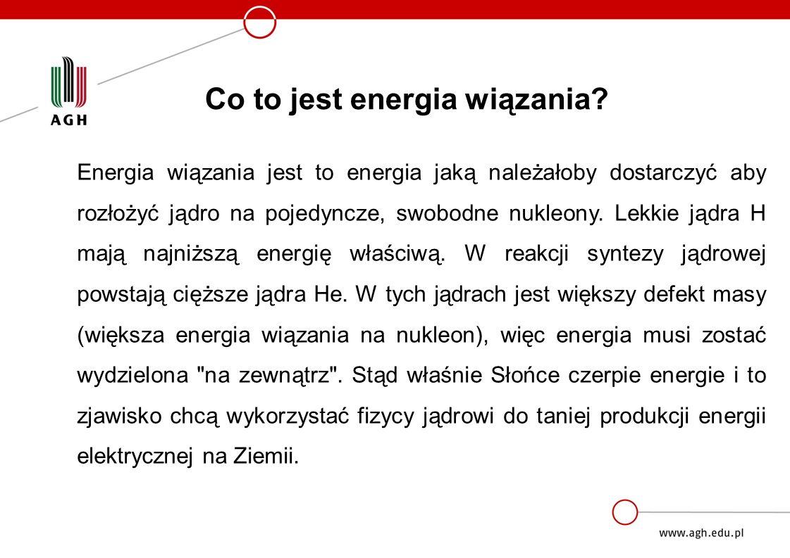 Energia wiązania jest to energia jaką należałoby dostarczyć aby rozłożyć jądro na pojedyncze, swobodne nukleony.