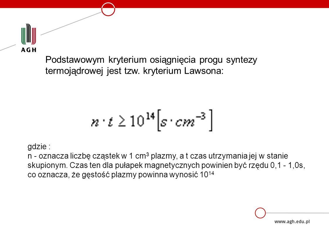 Podstawowym kryterium osiągnięcia progu syntezy termojądrowej jest tzw.