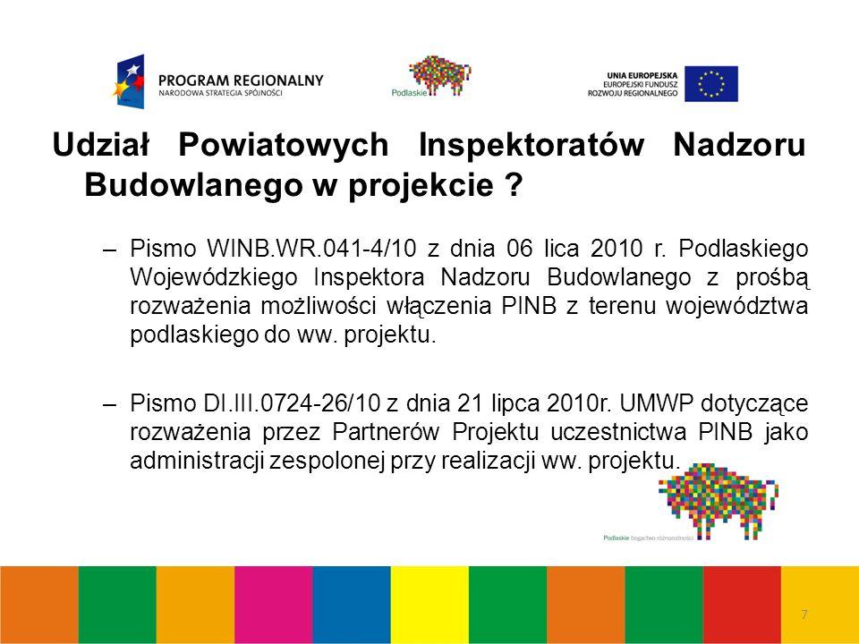 8 Udział Powiatowych Inspektoratów Nadzoru Budowlanego w projekcie .