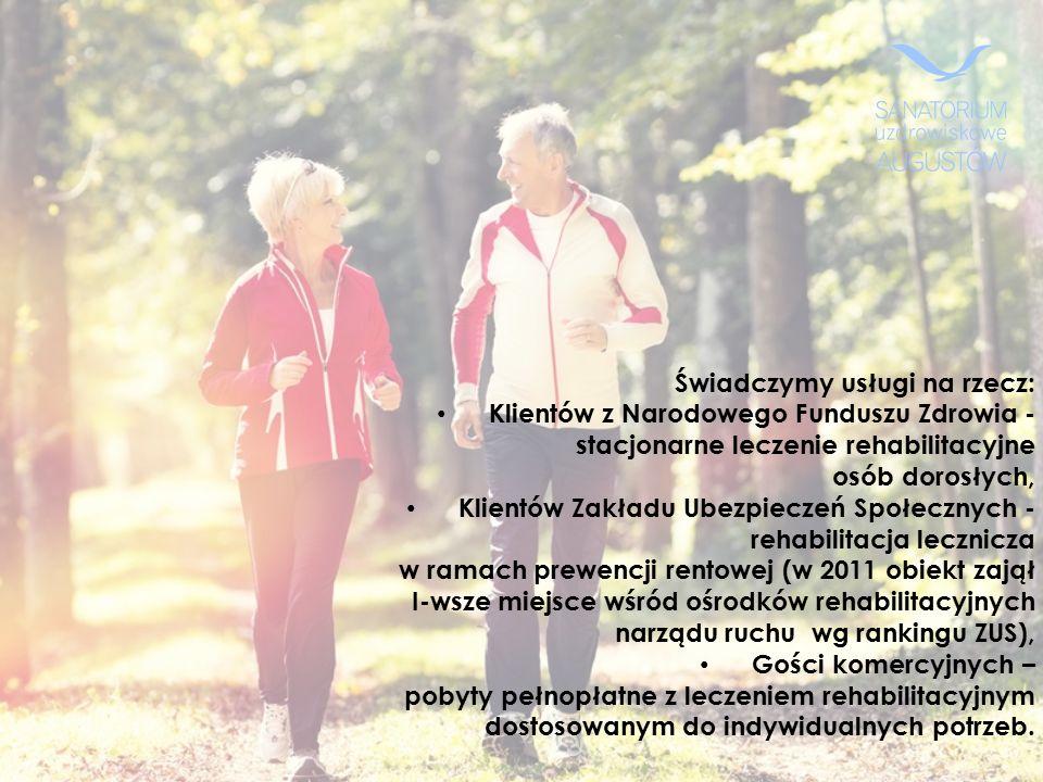 Świadczymy usługi na rzecz: Klientów z Narodowego Funduszu Zdrowia - stacjonarne leczenie rehabilitacyjne osób dorosłych, Klientów Zakładu Ubezpieczeń Społecznych - rehabilitacja lecznicza w ramach prewencji rentowej (w 2011 obiekt zajął I-wsze miejsce wśród ośrodków rehabilitacyjnych narządu ruchu wg rankingu ZUS), Gości komercyjnych – pobyty pełnopłatne z leczeniem rehabilitacyjnym dostosowanym do indywidualnych potrzeb.