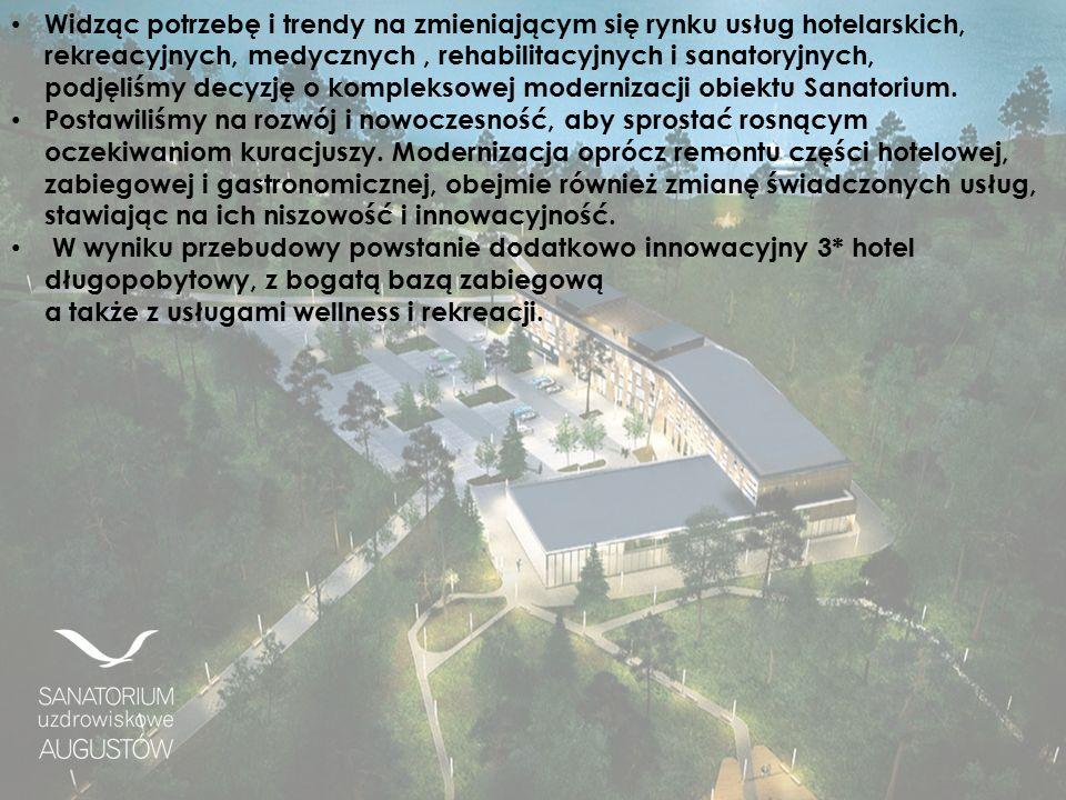 Widząc potrzebę i trendy na zmieniającym się rynku usług hotelarskich, rekreacyjnych, medycznych, rehabilitacyjnych i sanatoryjnych, podjęliśmy decyzję o kompleksowej modernizacji obiektu Sanatorium.