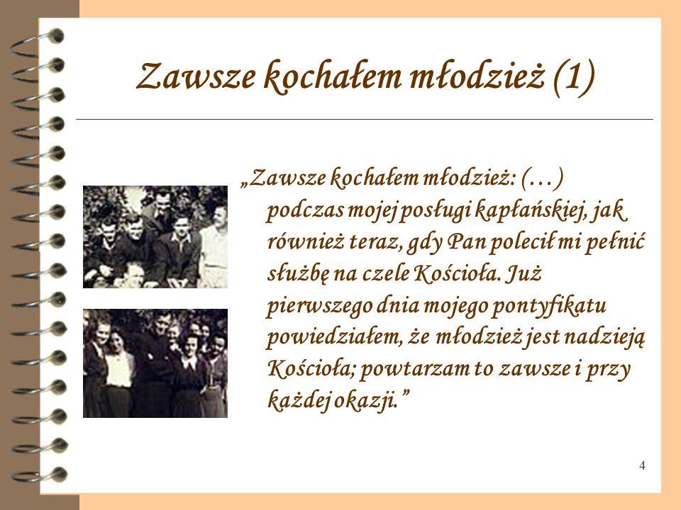 """3 Karol Wojtyła w gimnazjum """"Kiedy byłem w gimnazjum… Adam S. Sapieha, metropolita krakowski, wizytował naszą parafię w Wadowicach … Po moim przemówie"""