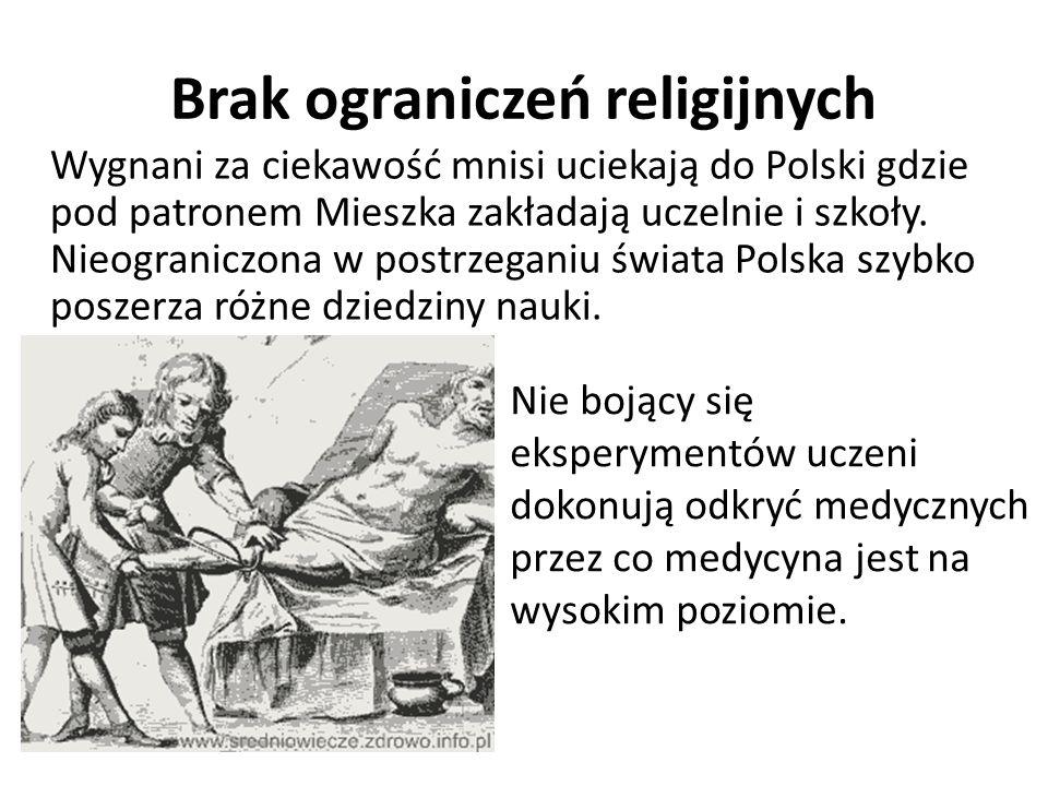Brak ograniczeń religijnych Wygnani za ciekawość mnisi uciekają do Polski gdzie pod patronem Mieszka zakładają uczelnie i szkoły.