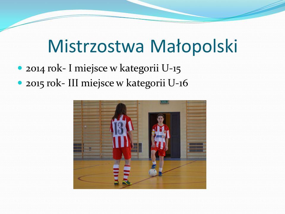 Mistrzostwa Małopolski 2014 rok- I miejsce w kategorii U-15 2015 rok- III miejsce w kategorii U-16