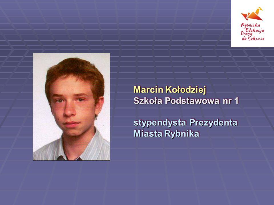 Klaudia Nieszporek, Gimnazjum nr 13 stypendysta Prezydenta Miasta Rybnika