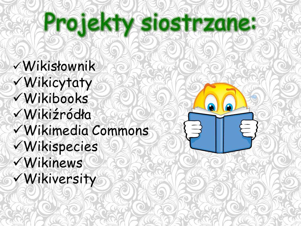 Wikisłownik Wikicytaty Wikibooks Wikiźródła Wikimedia Commons Wikispecies Wikinews Wikiversity