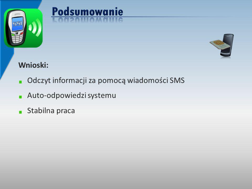 Wnioski: Odczyt informacji za pomocą wiadomości SMS Auto-odpowiedzi systemu Stabilna praca