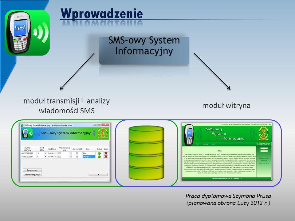 moduł witryna moduł transmisji i analizy wiadomości SMS Praca dyplomowa Szymona Prusa (planowana obrona Luty 2012 r.)