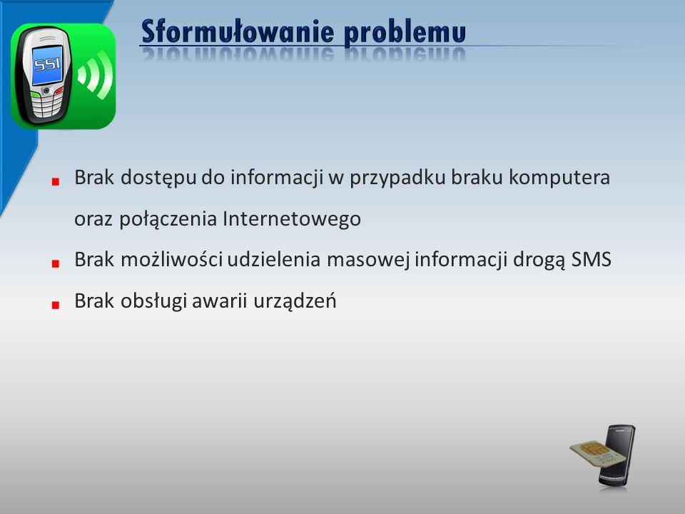 Brak dostępu do informacji w przypadku braku komputera oraz połączenia Internetowego Brak możliwości udzielenia masowej informacji drogą SMS Brak obsługi awarii urządzeń