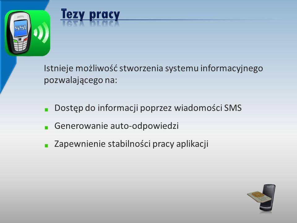 Istnieje możliwość stworzenia systemu informacyjnego pozwalającego na: Dostęp do informacji poprzez wiadomości SMS Generowanie auto-odpowiedzi Zapewnienie stabilności pracy aplikacji