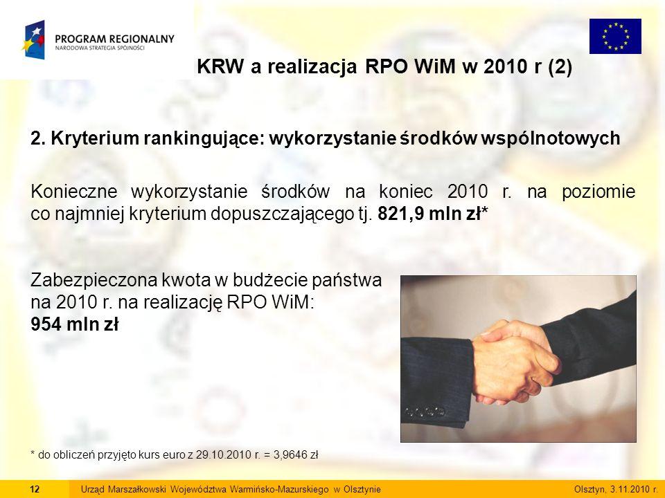 12Urząd Marszałkowski Województwa Warmińsko-Mazurskiego w Olsztynie Olsztyn, 3.11.2010 r. KRW a realizacja RPO WiM w 2010 r (2) 2. Kryterium rankinguj