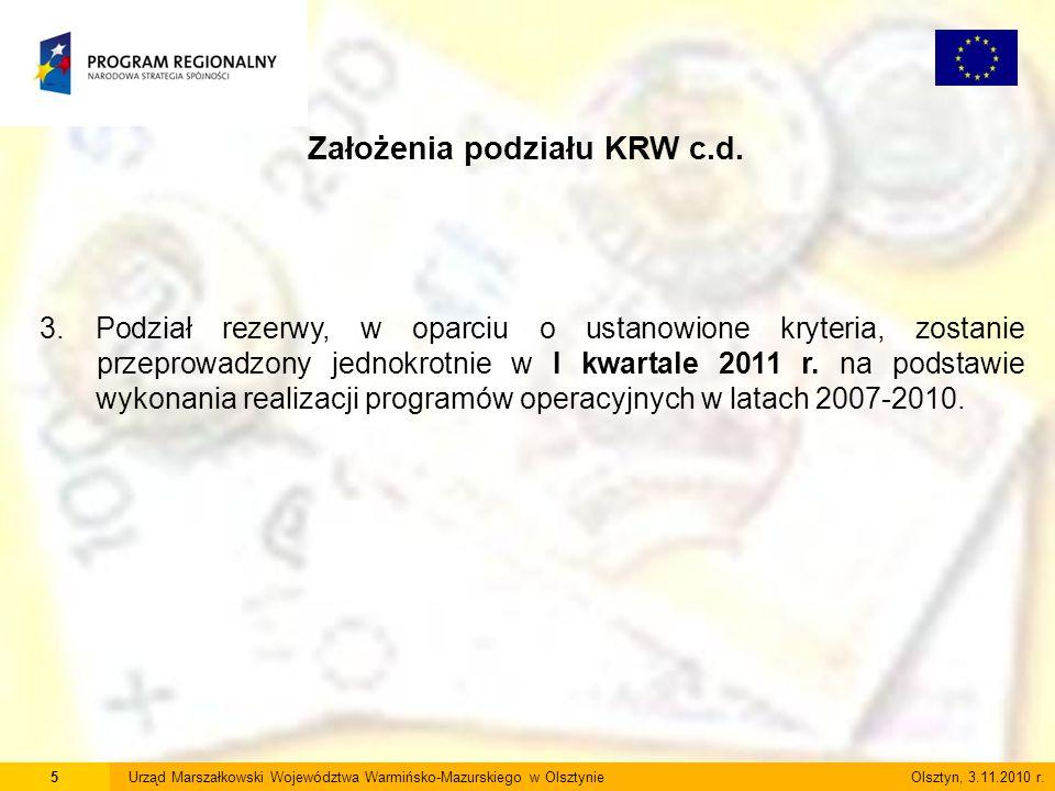 5Urząd Marszałkowski Województwa Warmińsko-Mazurskiego w Olsztynie Olsztyn, 3.11.2010 r. Założenia podziału KRW c.d. 3. Podział rezerwy, w oparciu o u