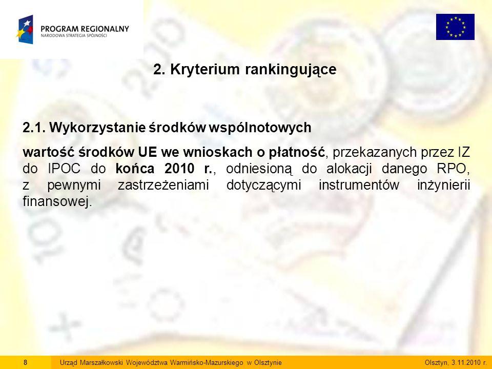 8Urząd Marszałkowski Województwa Warmińsko-Mazurskiego w Olsztynie Olsztyn, 3.11.2010 r. 2. Kryterium rankingujące 2.1. Wykorzystanie środków wspólnot