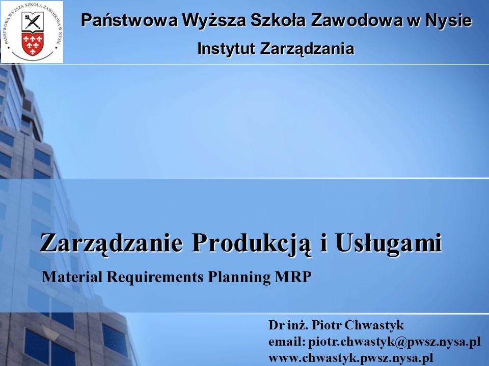 PLANOWANIE POTRZEB MATERIAŁOWYCH (Material Requirements Planning – MRP) Planowanie potrzeb materiałowych MRP jest podejściem, a jednocześnie systemem komputerowym przeznaczonym do rozwiniętego i sfazowanego w czasie planowania zleceń produkcji i nabycia pozycji rodzajowych, tak aby były one dostępne w wymaganych ilościach i terminach umożliwiających zrealizowanie MPS (Głównego planu produkcji) Zadania: Ustalanie planów zleceń produkcji i zleceń zakupu (co, ile, kiedy) dla wszystkich pozycji rodzajowych potrzebnych do realizacji MPS.