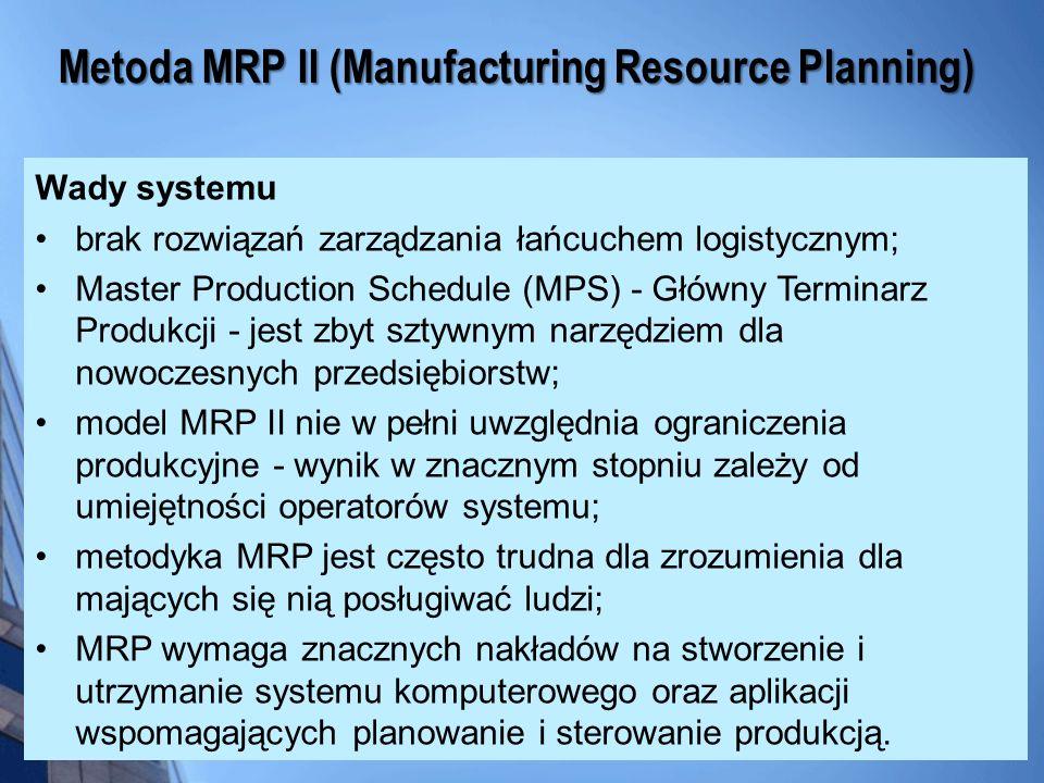Wady systemu brak rozwiązań zarządzania łańcuchem logistycznym; Master Production Schedule (MPS) - Główny Terminarz Produkcji - jest zbyt sztywnym nar