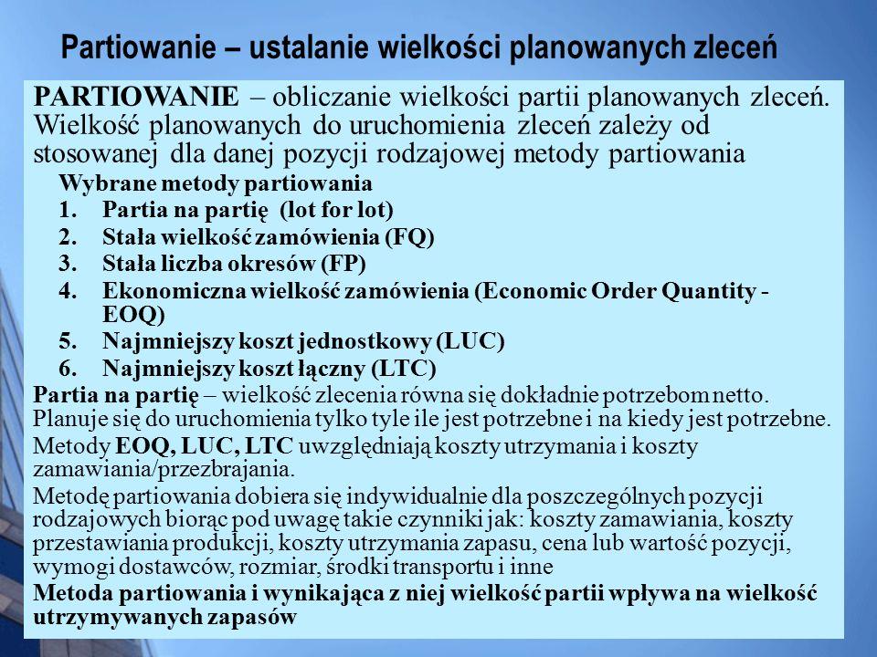 Partiowanie – ustalanie wielkości planowanych zleceń PARTIOWANIE – obliczanie wielkości partii planowanych zleceń. Wielkość planowanych do uruchomieni