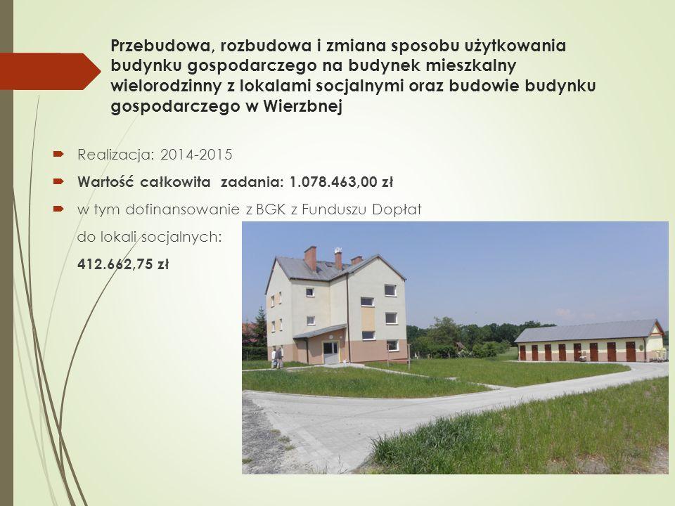 Przebudowa, rozbudowa i zmiana sposobu użytkowania budynku gospodarczego na budynek mieszkalny wielorodzinny z lokalami socjalnymi oraz budowie budynku gospodarczego w Wierzbnej  Realizacja: 2014-2015  Wartość całkowita zadania: 1.078.463,00 zł  w tym dofinansowanie z BGK z Funduszu Dopłat do lokali socjalnych: 412.662,75 zł