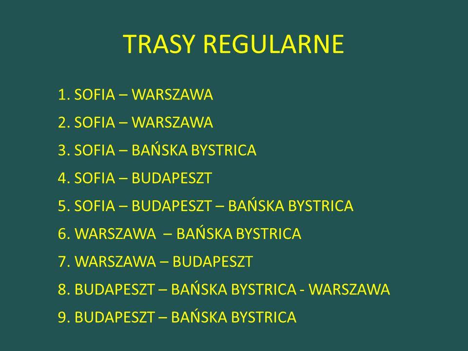 TRASY REGULARNE 1. SOFIA – WARSZAWA 2. SOFIA – WARSZAWA 3.