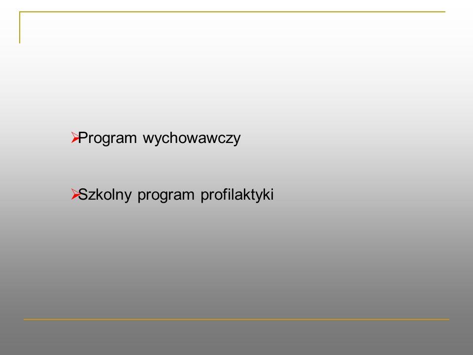  Program wychowawczy  Szkolny program profilaktyki