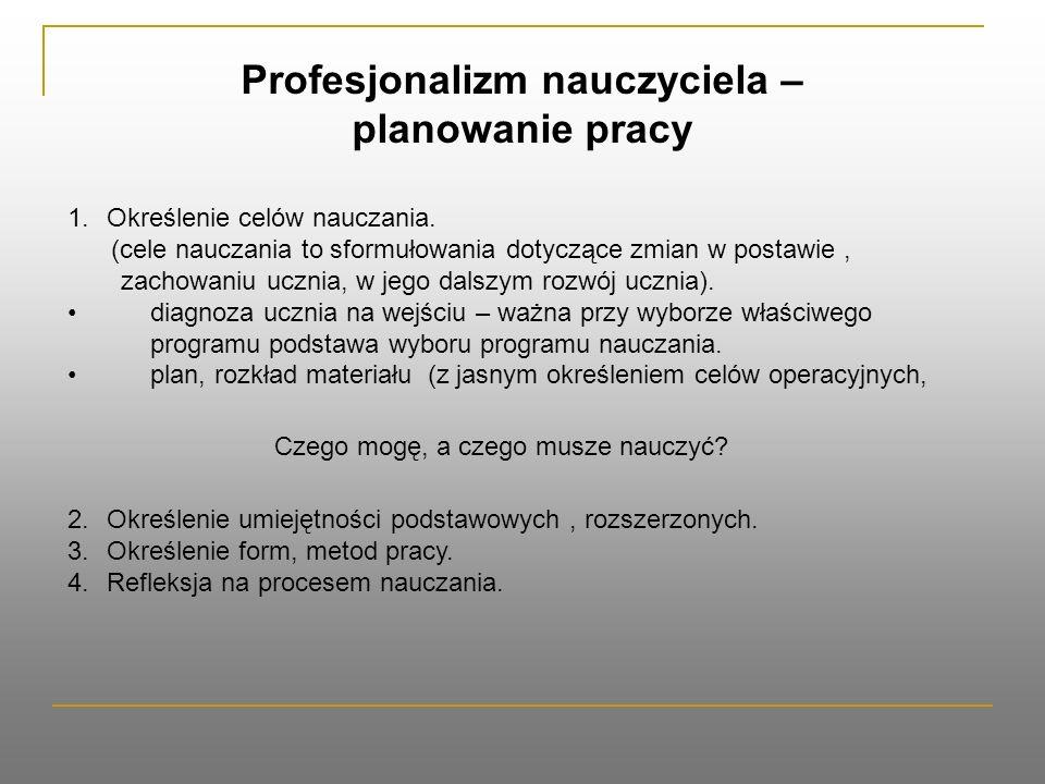 Profesjonalizm nauczyciela – planowanie pracy 1.Określenie celów nauczania.