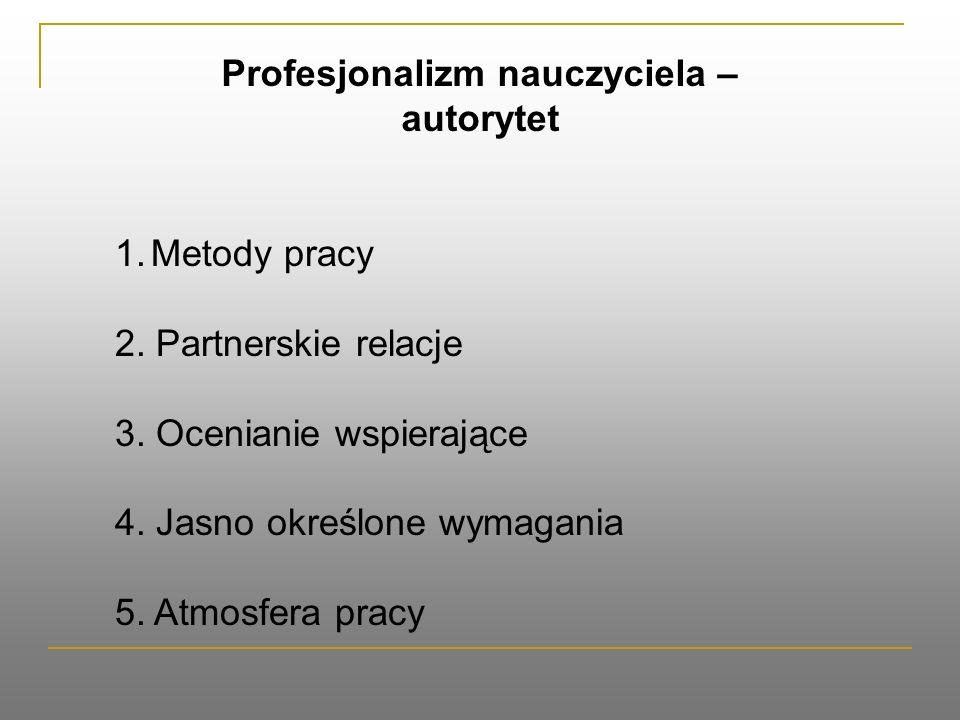 Profesjonalizm nauczyciela – autorytet 1.Metody pracy 2.