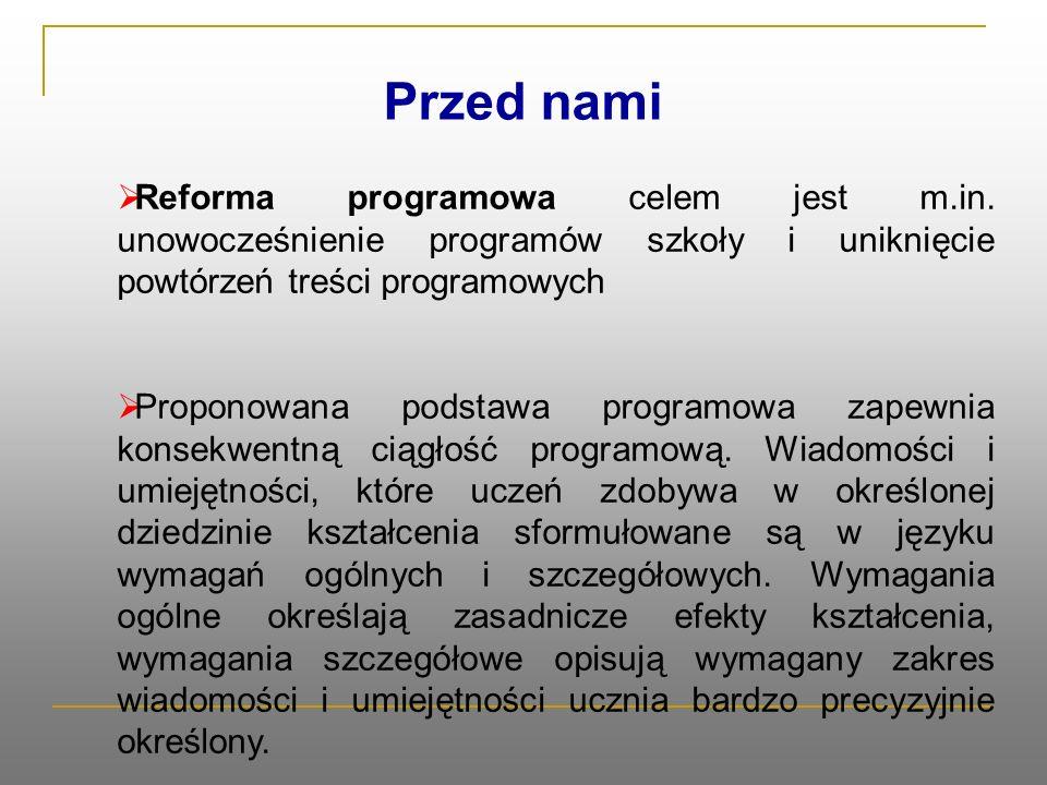Przed nami  Reforma programowa celem jest m.in.