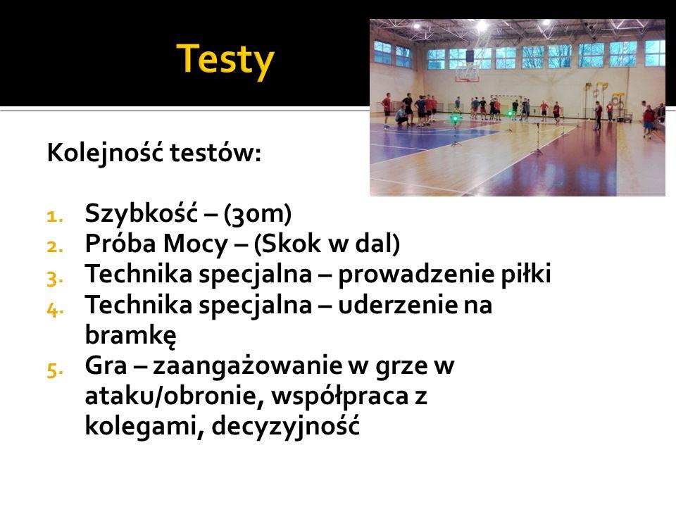 Kolejność testów: 1. Szybkość – (30m) 2. Próba Mocy – (Skok w dal) 3.