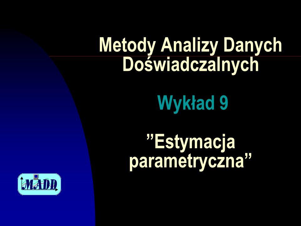 Metody Analizy Danych Doświadczalnych Wykład 9 Estymacja parametryczna