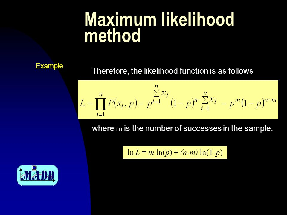 Maximum likelihood method Therefore, the likelihood function is as follows where m is the number of successes in the sample.