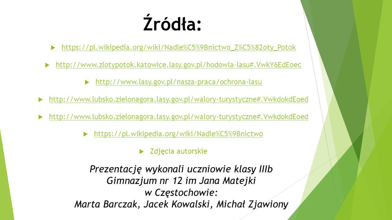 Źródła:  https://pl.wikipedia.org/wiki/Nadle%C5%9Bnictwo_Z%C5%82oty_Potok https://pl.wikipedia.org/wiki/Nadle%C5%9Bnictwo_Z%C5%82oty_Potok  http://www.zlotypotok.katowice.lasy.gov.pl/hodowla-lasu#.VwkY6EdEoec http://www.zlotypotok.katowice.lasy.gov.pl/hodowla-lasu#.VwkY6EdEoec  http://www.lasy.gov.pl/nasza-praca/ochrona-lasu http://www.lasy.gov.pl/nasza-praca/ochrona-lasu  http://www.lubsko.zielonagora.lasy.gov.pl/walory-turystyczne#.VwkdokdEoed http://www.lubsko.zielonagora.lasy.gov.pl/walory-turystyczne#.VwkdokdEoed  http://www.lubsko.zielonagora.lasy.gov.pl/walory-turystyczne#.VwkdokdEoed http://www.lubsko.zielonagora.lasy.gov.pl/walory-turystyczne#.VwkdokdEoed  https://pl.wikipedia.org/wiki/Nadle%C5%9Bnictwo https://pl.wikipedia.org/wiki/Nadle%C5%9Bnictwo  Zdjęcia autorskie Prezentację wykonali uczniowie klasy IIIb Gimnazjum nr 12 im Jana Matejki w Częstochowie: Marta Barczak, Jacek Kowalski, Michał Zjawiony