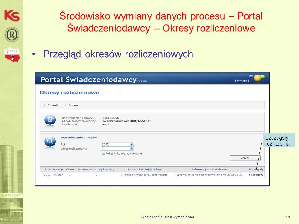 Środowisko wymiany danych procesu – Portal Świadczeniodawcy – Okresy rozliczeniowe Przegląd okresów rozliczeniowych 11 Szczegóły rozliczenia