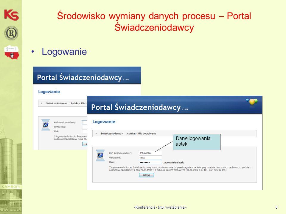 Środowisko wymiany danych procesu – Portal Świadczeniodawcy Logowanie 6 Dane logowania apteki