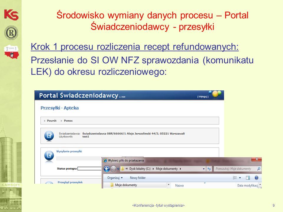 Środowisko wymiany danych procesu – Portal Świadczeniodawcy - przesyłki Krok 1 procesu rozliczenia recept refundowanych: Przesłanie do SI OW NFZ sprawozdania (komunikatu LEK) do okresu rozliczeniowego: 9