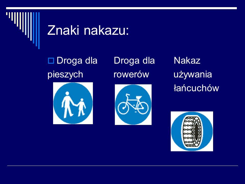 Znaki nakazu:  Droga dla Droga dla Nakaz pieszych rowerów używania łańcuchów