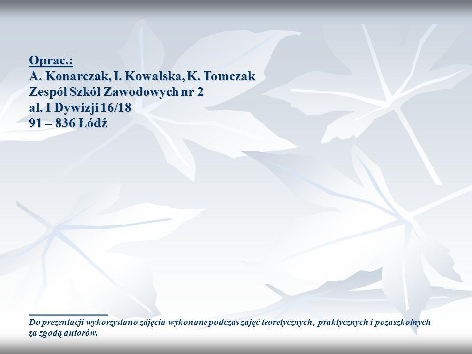 Oprac.: A. Konarczak, I. Kowalska, K. Tomczak Zespół Szkół Zawodowych nr 2 al.