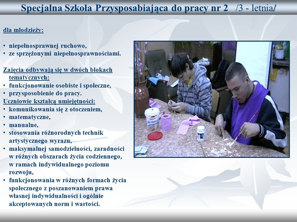 / Specjalna Szkoła Przysposabiająca do pracy nr 2 /3 - letnia/ dla młodzieży: niepełnosprawnej ruchowo, ze sprzężonymi niepełnosprawnościami.