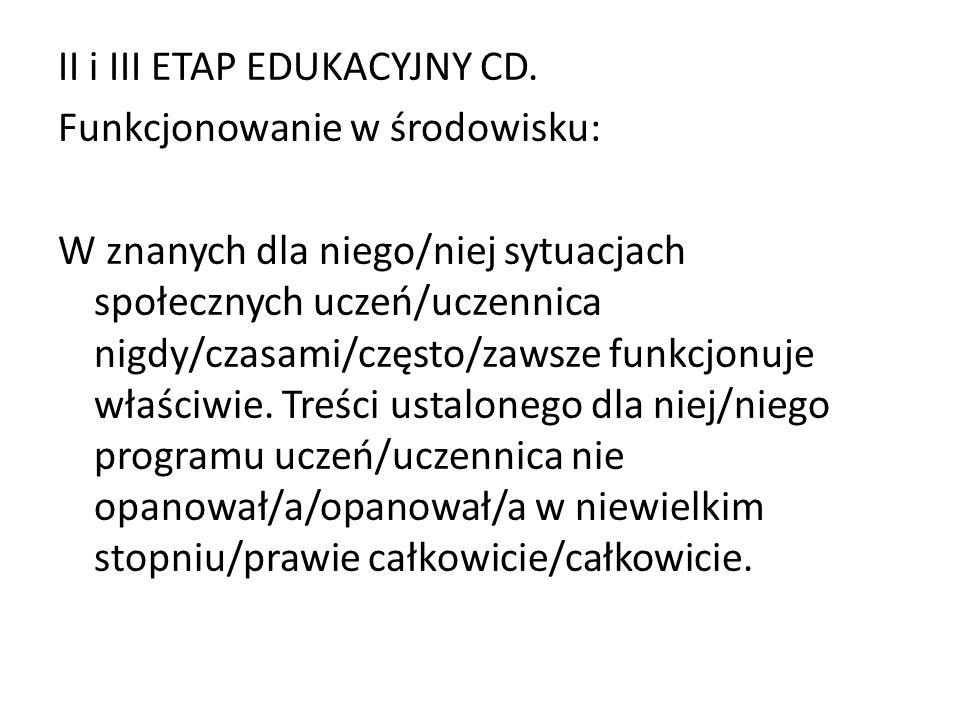 II i III ETAP EDUKACYJNY CD.