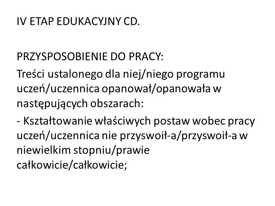 IV ETAP EDUKACYJNY CD.